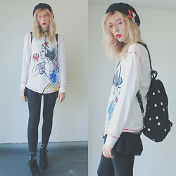 Candy Thorne - Monki Spotty Backpack, Disney Japan Snow White Long Sleeve, Shibuya 109 Buckle Boots - 毒