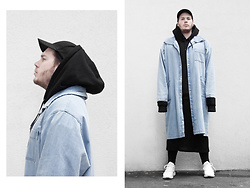 Wyatt Morgan - Weekday Oversized Denim Coat, Weekday Oversized Sweater, Foot Locker Adidas Tubular - 17 10