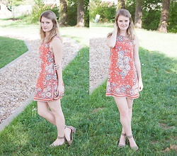 Kirby K - Urban Outfitters Orange Dress, Dsw Tassel Sandals - Dreamsicle