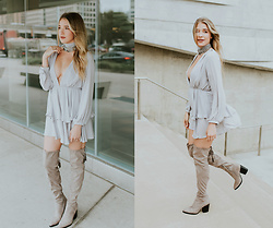Payton Sartain - Lioness Dress, Nordstrom Choker, Marc Fisher Over Knee Boots - Glam Neutrals