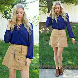 BG by Christina L - Rue21 Faux Suede Button Up Skirt, Victoria's Secret Indigo Lace Up Blouse, Cognac Booties - Indigo