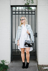 Taylor Reese - Mossimo Denim Jacket, Bcbg Shirt Dress, Head Over Heelz Nyc Buckle Detail Booties, Kate Spade Patent Shoulder Bag - Shirt Dressing