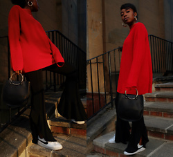 Remi Afolabi - H&M Jumper, Forever 21 Metal Handle Bag, Nike Sneakers, Zara Frilled Hem Trousers - Statement Style Staples