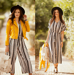 Viktoriya Sener - Romwe Jacket, Romwe Jumpsuit, Mango Backpack - YELLOW AND STRIPES