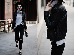 Andreea Birsan - Mirrored Sunglasses, Grey Turtleneck Sweater, Genuine Leather Bomber Jacket, Black Distressed Mom Jeans, Pointy Toe Loafers, Furla Piper S Crossbody Bag, Leather Belt, Black Fedora Hat - The best leather jacket trend for fall 2016 II