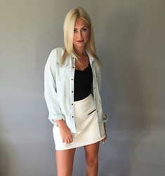 Agate Zirape - Zara White Skirt, Zara Men Denim Shirt - Mens clothes are the best
