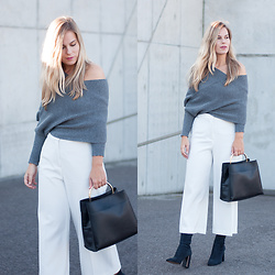 Jules V - Sheinside Wrap Knit, Mango Black Bag, Zara Culottes, Mango Sock Boots - Keeping it simple