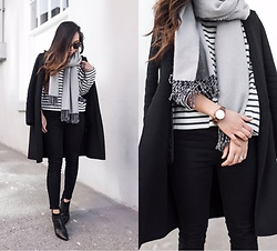 T - Madewell Shirt, H&M Scarf, Zara Coat, Jord Watch - Stripe Tee