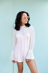 Alexandra Lord - Wildfox Pinstripe Romper, H&M Bell Sleeve Blouse, Crap Eyewear Reflective Shades - BEACH CLUB