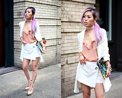 Aika Y - Forever 21 White Mini Blazer Dress Worn As A Blazer, Zara Short Culottes, Alice + Olivia Floral Printed Leather Clutch, Swarovski Crystaldust Bangle Double Gold, Swarovski Lash Necklace, Swarovski Crystaldust Bangle Double White Worn As A Choker, Envi Shoes Nude Pumps - White, Rose Gold & Crystaldust