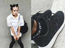 Kylie Rodriguez - Fudge Rock Oversized Hologram Shirt, Forever 21 Black Leggings, Cordes & Totes Black Mini Fur Bag, Fudge Rock Fuck Off Socks, Something Borrowed Glitter Sneakers - Take me to outer space.