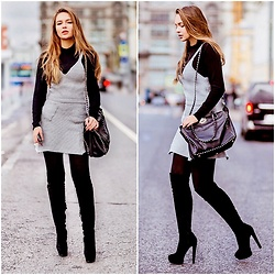 Alina Feminudity - Poppy Lovers Knit Costume, Nando Muzi Heels, Valentino Rockstud Bag, H&M Dress - Fashion Week Outfit