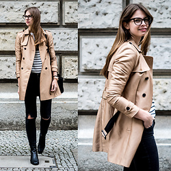 Jacky - Vila Sweater, Zara Jeans, Marks & Spencer Boots, Reserved Trench Coat - Trenchcoat and stripes sweater