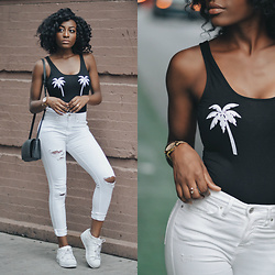 Nkenge Brown - Topshop Palm Tree Bodysuit, Topshop Ripped Denim, Urban Outfitters Black Bag, Adidas Superstars - Palm Tree Bodysuit