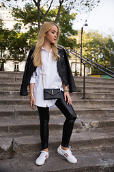 Silver Girl - Dezzal Leather Jacket, Shirt Dress, Leather Leggings, White Sneakers, Calvin Klein Golden Watch, Saint Laurent Shoulder Bag - PFW DAY 1 - SHIRT DRESS