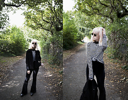 Peaches - Shein Stripe Long Sleeve Top, Missguided Velvet Flares, My Sisters Accessories Cord Choker Necklace - Stripes