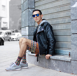 Ahmed Imoudrog - Oceanglasses Blue Shades, Gearbest Leather Jacket, Gamiss Shorts - STREET