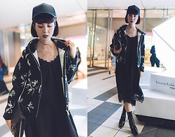 Samantha Mariko - Calvin Klein Jacket, Ozoc Dress, Are You Am I Lilou Choker, Asos Cap, Metrocity Bag, Public Desire Boots - Black floral and lace