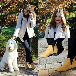 Taylor Doucette - Old Navy Suede Pointed Toe Boots, Acne Aviator Jacket - Shout Out To My Ex- Little Mix