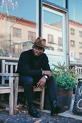 STEVEN ONOJA - Brett Johnson Turtleneck, Bar 3 Pants, Aquatalia Boots - Blackish