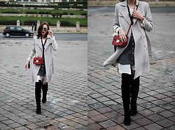 Andreea Birsan - Trench Coat, Ruffle Top, White Button Down Shirt, Burgundy Crossbody Bag, Suede Over The Knee Boots, Grey Button Front Skirt, Mirrored Sunglasses - Over the knee boots: How to wear the hottest fall shoe trend