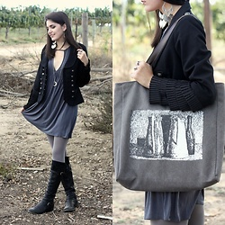 Lexi L - Kimchi Blue Grey Dress, Black Military Jacket, Knee High Leather Boots, Rosegal Grey Sketch Print Canvas Bag - Colour Me In