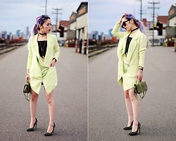 Aika Y - Yuna Yang Lime Green Blazer Dress, Lace Crop Top, Nasty Gal Velvet Choker, Aldo Studded Pumps, Khaki Mini Bag, Daniel Wellington Watch, Asos Cat Eye Sunglasses - Lime Green Blazer Dress