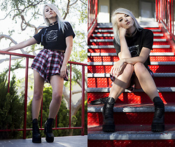 Kristen Prater - Lifeless Threads Crop Tee, Unif Ty Plaid Shorts, Unif Thrash Boots - SCHOOL'S OUT