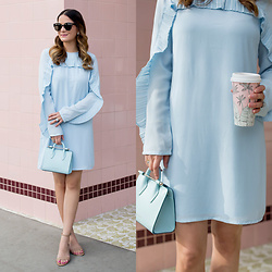 Jenn Lake - Asos Blue Pleated Ruffle Trim Dress, Strathberry Blue Nano Tote, Steve Madden Irenee Ankle Strap Sandals, Urban Outfitters Round Tortoise Sunglasses - Blue Pleated Ruffle Sleeve Dress