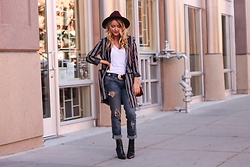 Amber Wilkerson - Shein Jacket, Kendall And Kylie Boots, Free People Hat, Blank Nye Denim - Pops of Pinot