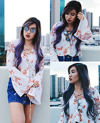 Caitlinaomi - Forever 21 Sunglasses, La Hearts Floral Lace Up Crop Top, Brandy Melville Usa Button Up Denim Skirt - Reminiscing Summer
