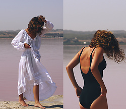 Denisia A. - Figleaves White Maxi Beach Dress, Figleaves Black Swimsuit - There is beauty in simplicity