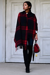 Konstantina Antoniadou - Lord & Taylor Plaid Scarf, Asos Over The Knee Boots, Nasty Gal Choker - Plaid blanket scarf and over the knee boots
