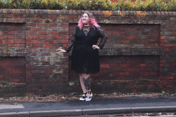 Kitty Wood - Want That Trend Uk Hannah Black Lace Dress, Yours Clothing Platform Heels - Black Lace