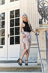 MABOKI - Zara Shiny Pleated Skirt In Pink Metallic, Zara Cropped Lace Top, Asos Plateau Shoes - Glamour Pleated Skirt