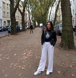 Chantal H. - Subdued Trousers, Zara Leather Jacket, Kenzo T Shirt - Beautiful autumn days in Cologne