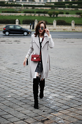 Andreea Birsan - Over The Knee Boots, White Button Down Shirt, Grey Button Front Skirt, Trench Coat, Burgundy Crossbody Bag, Ruffle Top, Mirrored Sunglasses - Over the knee boots: How to wear the trend