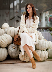 Viktoriya Sener - Aran Sweater Direct Cardigan, Zaful Dress - COZY FALL