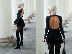 MONIKA S - Open Back Turtleneck Bodysuit, High Waist Loose Shorts, Over Knee Thigh Boots, Furry Leather Bag With Chain - 2 WICKY