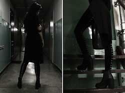 Alice A. - Necessary Evil Gothic Venus Skinny Jumpsuit, H&M Black Heels - Not today.