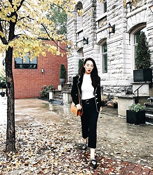 WMwatchme - Zara Hight Wait Pants, Topshop White Top, Moschino Vintage Blazer, Zara Shoulder Bag - Retro style