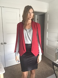 Cindy Batchelor - Choies Red Cape Blazer, Amazon Gray Long Sleeved T Shirt, Amazon Black Pencil Skirt - Red Cape Blazer, Gray TShirt and Black Pencil Skirt
