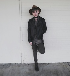 Sam Thomas - H&M Wool Hat, H&M Velvet Choker, Yoki Faux Leather Biker Jacket, Chaps X Ralph Lauren Paisley Button Down, American Eagle Outfitters Skinny Jeans, Forever 21 Boots - Just Another Day