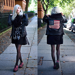 Kimi Peri - Unif Americana Moto Jacket, Tights, Witch Worldwide Symbol Tee, T.U.K. Footwear Burgundy Mondo Creepers, Weekday Black Loop Scarf - Witch Worldwide