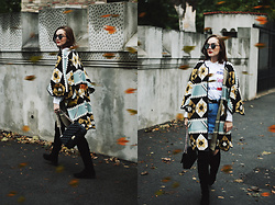 Andreea Birsan - Printed Cape, Printed T Shirt, White Button Down Shirt, Suede Over The Knee Boots, Denim Mini Skirt, Quilted Leather Crossbody Bag, Mirrored Sunglasses - The ultimate guide to wearing a printed cape