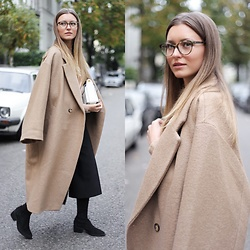 Livia Auer - Ace & Tate Ella Glasses, H&M Oversized Coat, Zara Culottes, & Other Stories Over The Knee Boots - Ace & Tate Glasses