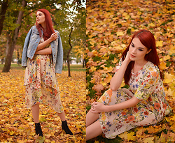 Anaivilo B - Zaful Chiffon Dress, Zara Denim Jacket - In a sea of leaves