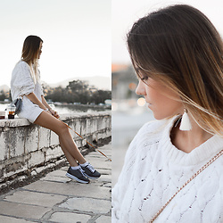 Tamara Bellis - H&M Sweater, H&M Bag, Pull & Bear Sneakers, Zaful Earrings - Venetian Style in Corfu