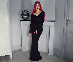 Marion Lemos - Black Milk Clothing Dress, Kates Clothing Skirt, My Instagram, My Morticia Addams Tutorial Video - Morticia Addams
