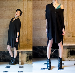 Gi Shieh - Double Agent Button Down Shirt Dress, Aldo Platform Boots, American Eagle Outfitters Aqua Bralet, H&M Choker - Darkness